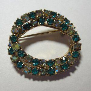 Georgeous  Vintage Aqua & Aurora Borealis Brooch